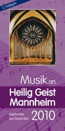 Musik an Heilig Geist Mannheim | September bis Dezember 2010