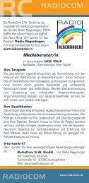 Mediaberater/in - RadioCom SW GmbH