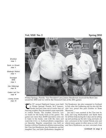 Vol. XXII No. 2 Spring 2010 - Clan Henderson Society