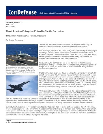 Naval Aviation Enterprise Poised to Tackle Corrosion - CorrDefense