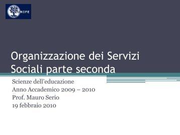 20100219 Organizzazione dei Servizi Sociali Immigrazione
