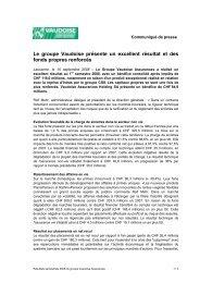 Le groupe Vaudoise présente un excellent résultat et des fonds ...