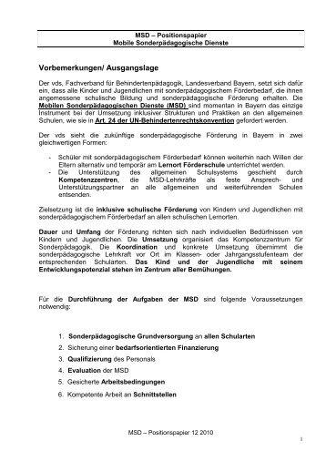 vds_ Positionspapier_MSD_2010 - vds Verband Sonderpädagogik ...