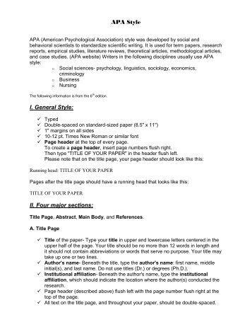 college majors list example apa paper
