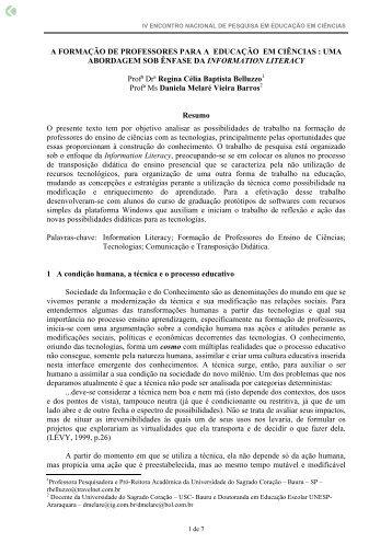 A FORMAÇÃO DE PROFESSORES PARA A ... - Axpfep1.if.usp.br