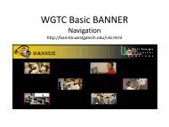 WGTC Basic Banner Training (pdf) - West Georgia Technical College