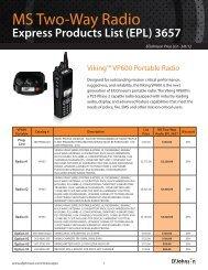 Download EFJohnson Price List PDF - 3/6/12 (Viking VP600)