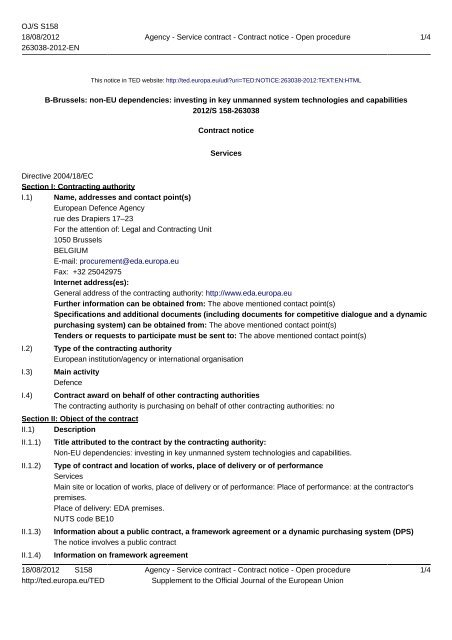 12.I&M.OP.337- Contract Notice - European Defence Agency - Europa