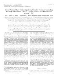 Use of Peptide-Major Histocompatibility Complex Tetramer ...