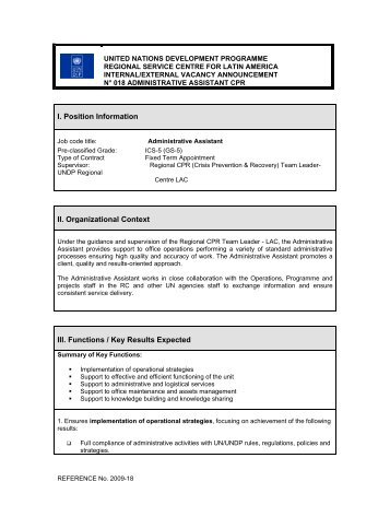 I. Position Information II. Organizational Context III. Functions / Key ...