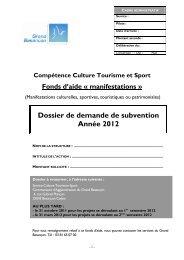 Dossier de demande de subvention - Besançon