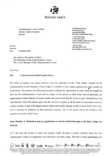 letter to the Administrative Court - Duncan Lewis Solicitors