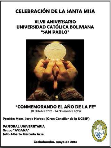 Programa de la Misa - Universidad Católica Boliviana