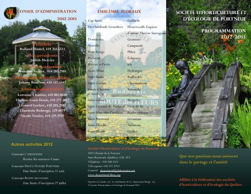 Programmation 2012-2013 Société d'horticulture et d'écologie de ...
