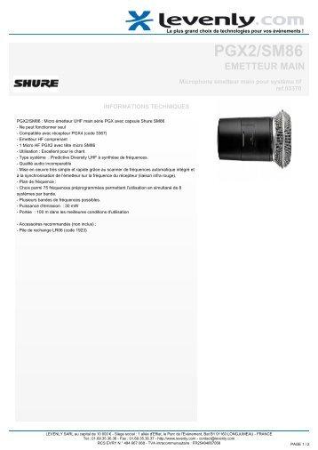 PGX2/SM86, EMETTEUR MAIN, Microphone émetteur ... - Levenly