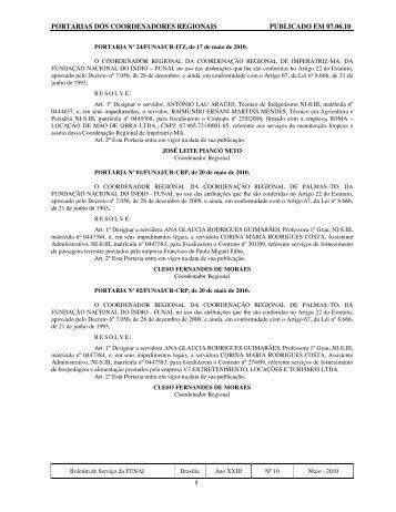 PORTARIAS DOS COORDENADORES REGIONAIS ... - Funai