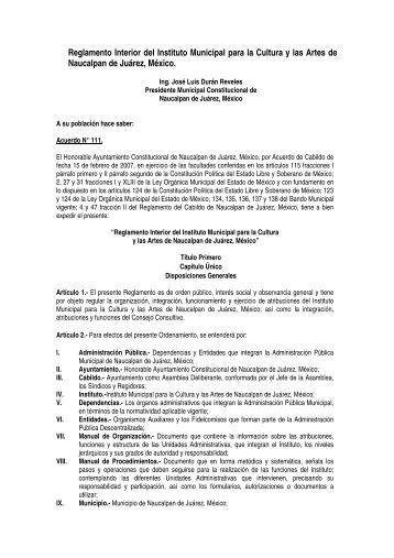 Reglamento Interior del Instituto Municipal para la Cultura y las ...