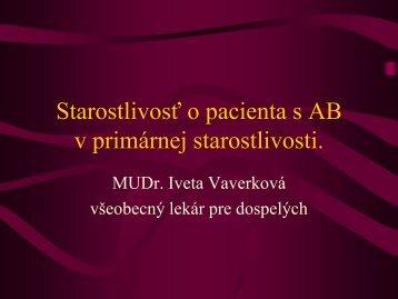 Starostlivosť o pacienta s AB v primárnej starostlivosti ...