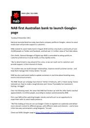 NAB first Australian bank to launch Google+ page - FST Media