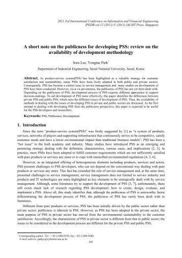 A short note on the publicness for developing PSS: review on ... - ipedr