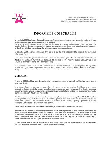 INFORME DE COSECHA 2011 - Wines Of Argentina