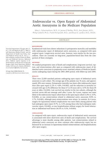 Endovascular vs. Open Repair of Abdominal Aortic Aneurysms in ...