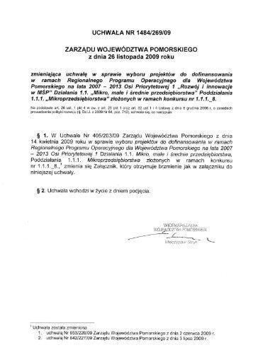 UCHWAŁA NR 1484/269/09 - Agencja Rozwoju Pomorza SA
