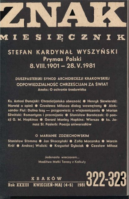 Nr 322 323 Kwiecieå Maj 1981 Znak