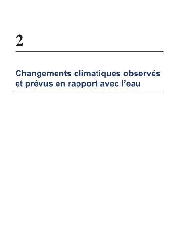 changements climatiques observés et prévus en rapport avec l'eau