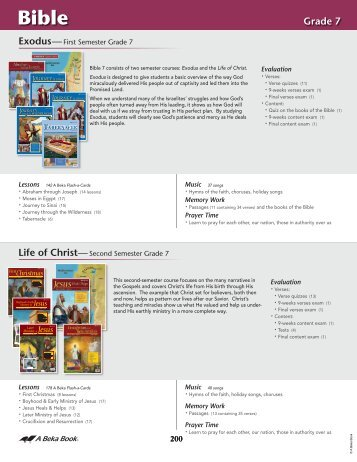 ABB Scope and Sequence 2012-Secondary Bible - A Beka Book