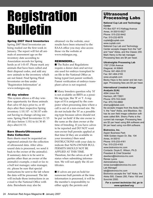 Registration Bulletin - Red Angus Association of America
