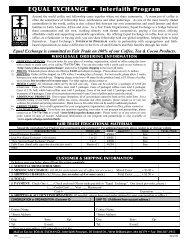 EQUAL EXCHANGE • Interfaith Program - Holy Cross International ...