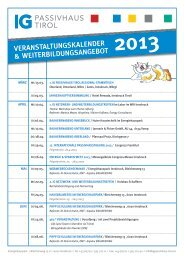 veranstaltungskalender & weiterbildungsangebot - IG Passivhaus Tirol