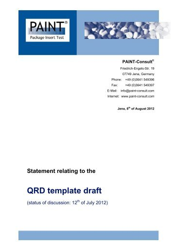 Statement for the QRD template draft (Discussion to ... - PAINT-Consult