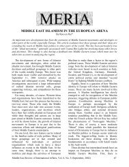 Middle East Islamism in the European Arena - GLORIA Center