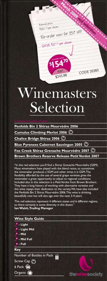 Winemaster's Selection February 2009 - Red - The Wine Society