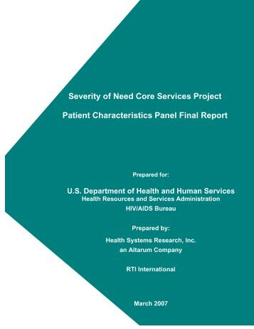 to access the full Patient Characteristics Report - HRSA HIV/AIDS ...