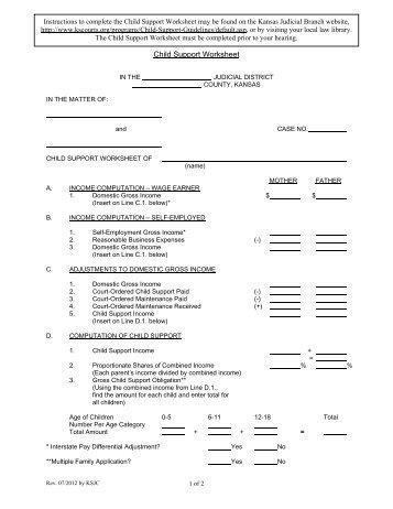 Appendix I Child Support Worksheet Kansas Judicial Branch