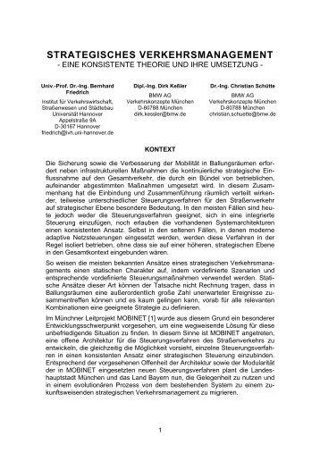 strategisches verkehrsmanagement - Institut für Verkehrswirtschaft ...