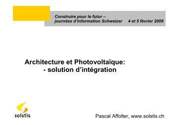 Architecture et Photovoltaïque - Schweizer Metallbau