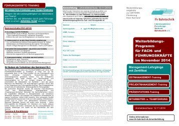 Weiterbildungs - IFV BAHNTECHNIK e.V.