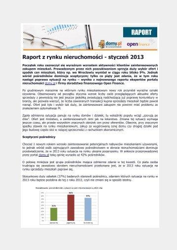 Raport z rynku nieruchomości - styczeń 2013 - QBusiness.pl