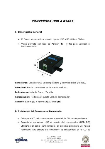 Manual Conv. USB a RS485 May-08.pdf - Zebra Electronica