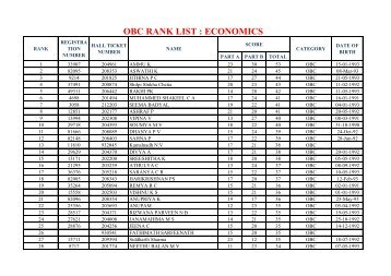 OBC RANK LIST : ECONOMICS