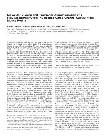 Molecular Cloning and Functional Characterization of a New ...
