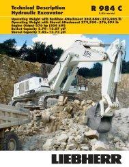 Technical Description R 984 C Hydraulic Excavator