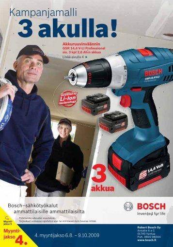 3 akulla! - Bosch-sähkötyökalut