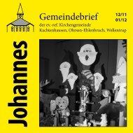 Spendenprojekt 2012 - ref. Johannesgemeinde Kachtenhausen