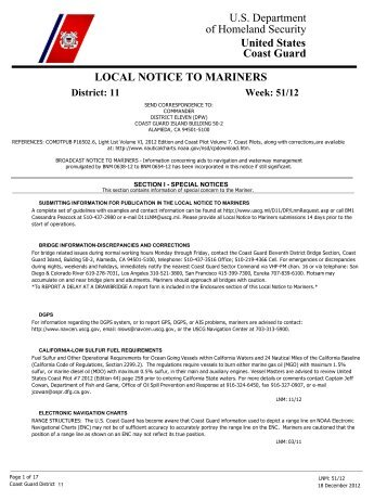 Local Notice To Mariners Week #51-2012 - Dana Point Boaters ...