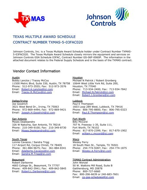 TEXAS MULTIPLE AWARD SCHEDULE CONTRACT NUMBER